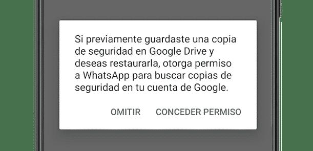 Otorgando permisos para que WhatsApp acceda a Google Drive