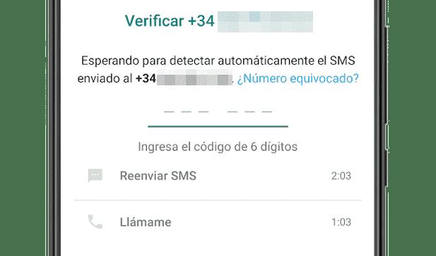 Recibiendo el SMS de verificación de WhatsApp para Android