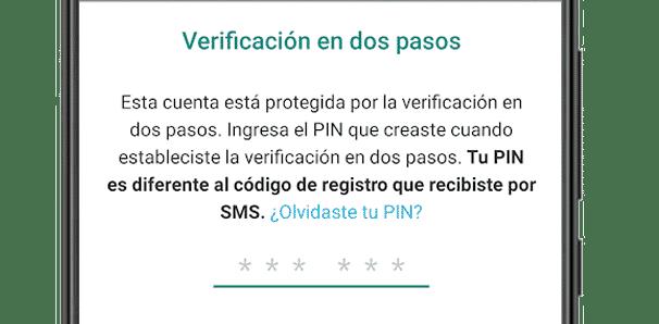 Código PIN de verificación en dos pasos para Android durante la instalación