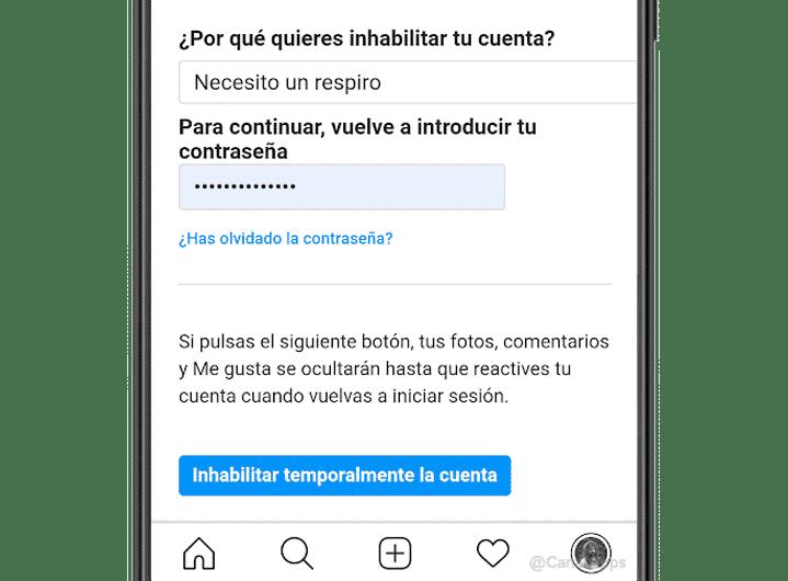 desactivar cuenta Instagram temporalmente