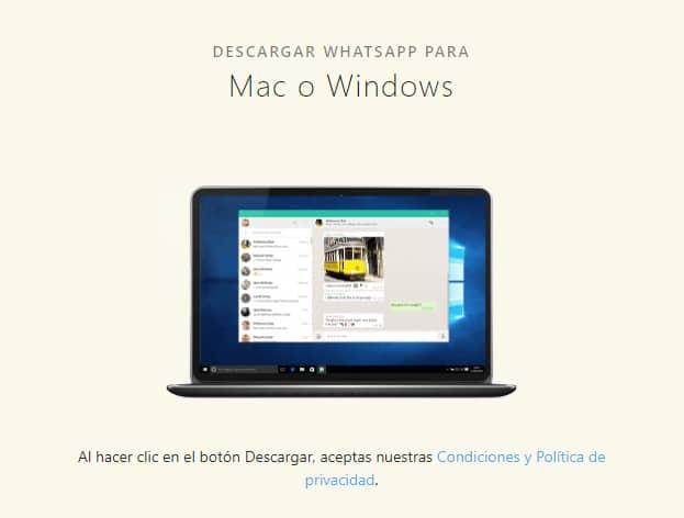 Web de WhatsApp para descargar la versión de Mac y Windows