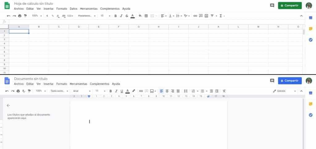 documentos de texto y hojas de calculo de google
