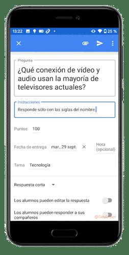 configurar pregunta google classroom