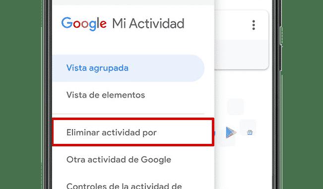 eliminar google mi actividad