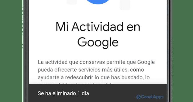 actividad eliminada google
