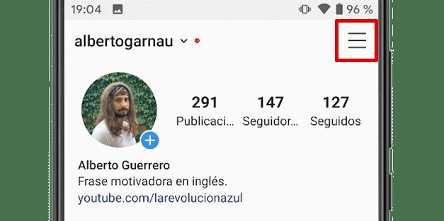 Acceder al menú de Instagram en el perfil