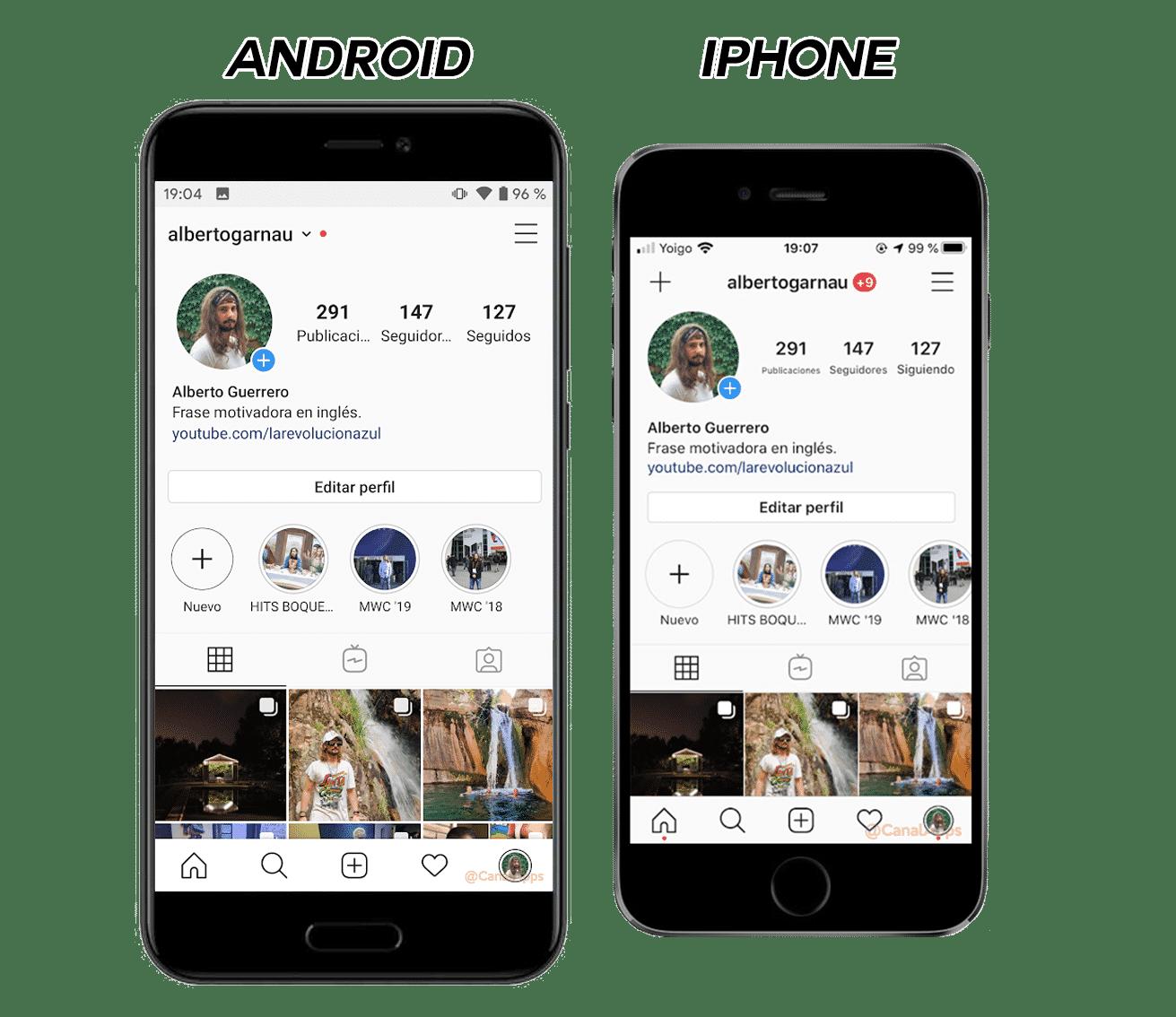 Perfil de instagram en Android y en iOS