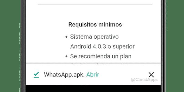 El archivo APK de WhatsApp ya descargado