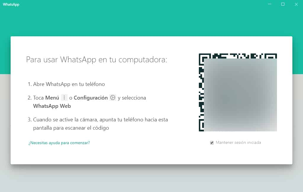 Código QR de WhatsApp Desktop