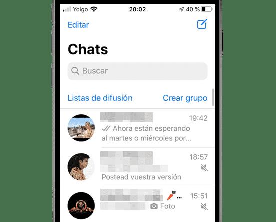 Chats de WhatsApp para iOS