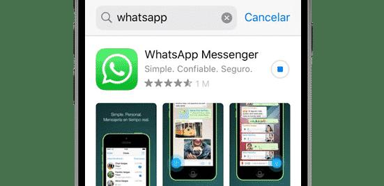 Descargando WhatsApp en el App Store desde un iPhone