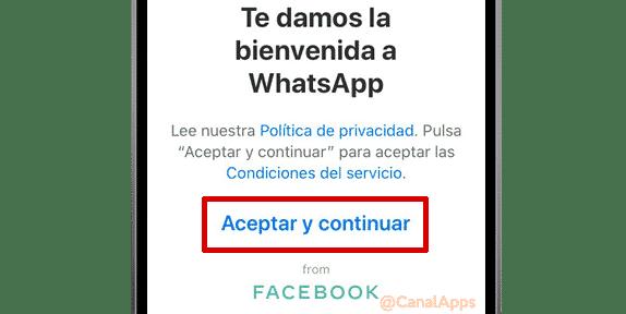 Pantalla de bienvenida de WhatsApp en iPhone