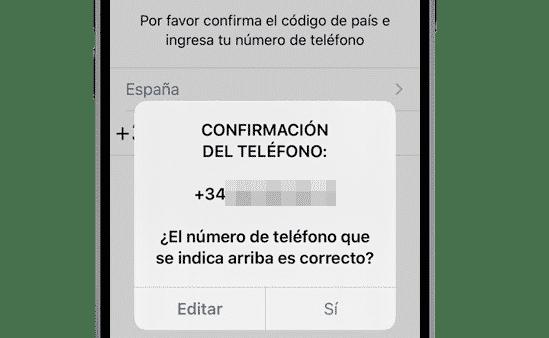 Confirmación de teléfono de WhatsApp para iPhone