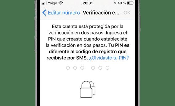 Verificación en dos pasos en WhatsApp en iPhone