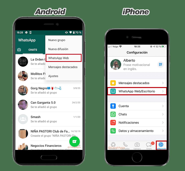 Accediendo a WhatsApp para escritorio desde el smartphone