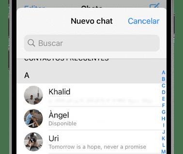 nuevo chat en whatsapp
