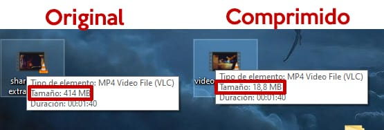 diferencia de tamaño video comprimido youtube