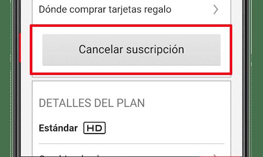 cancelar suscripcion netflix app