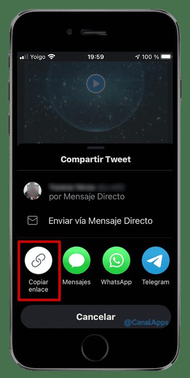 copiar enlace tweet app ios