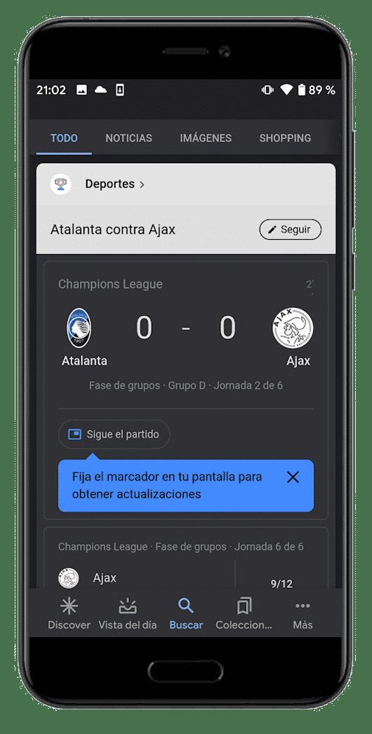 google deportes resultados de fútbol