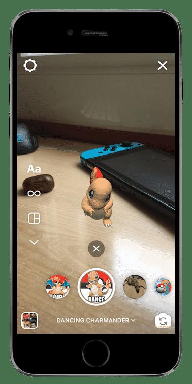 instagram historias lentes realidad aumentada pokemon