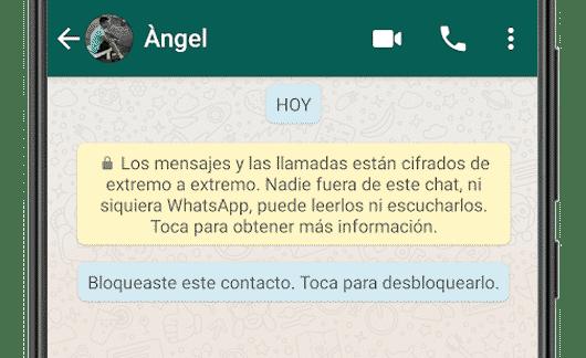bloqueaste a este contacto whatsapp android