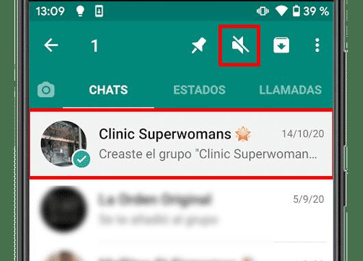 whatsapp silenciar grupo android