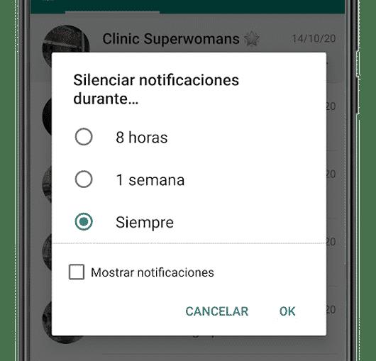 silenciar notificaciones whatsapp android