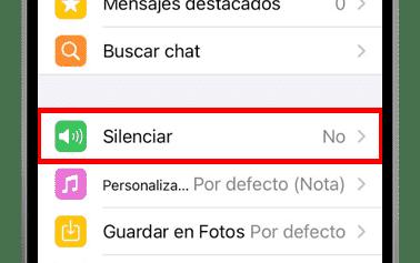 silenciar whatsapp ios info del grupo