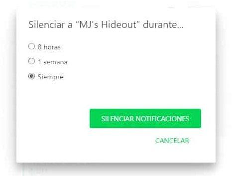 silenciar notificaciones whatsapp web