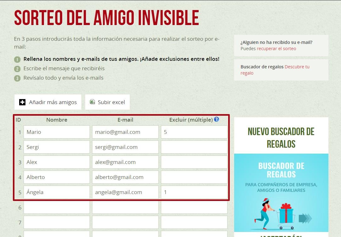 sorteo amigo invisible online