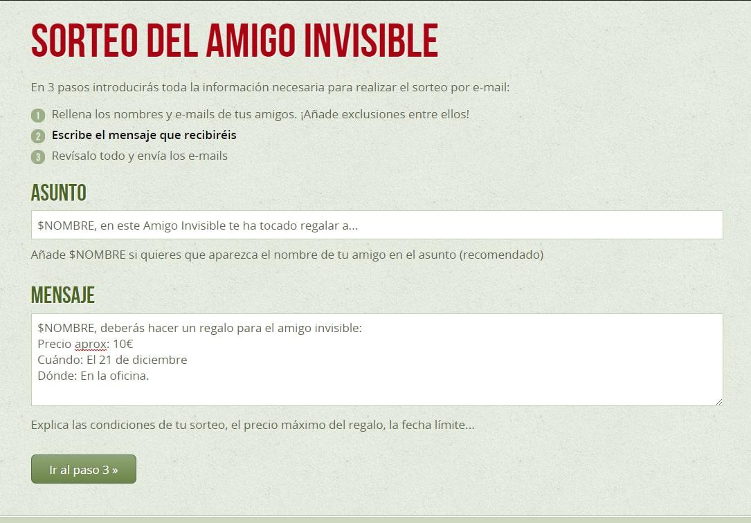 email sorteo amigo invisible