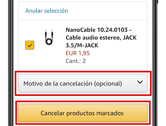 cancelar pedido amazon app android