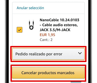 cancelar pedido amazon app ios