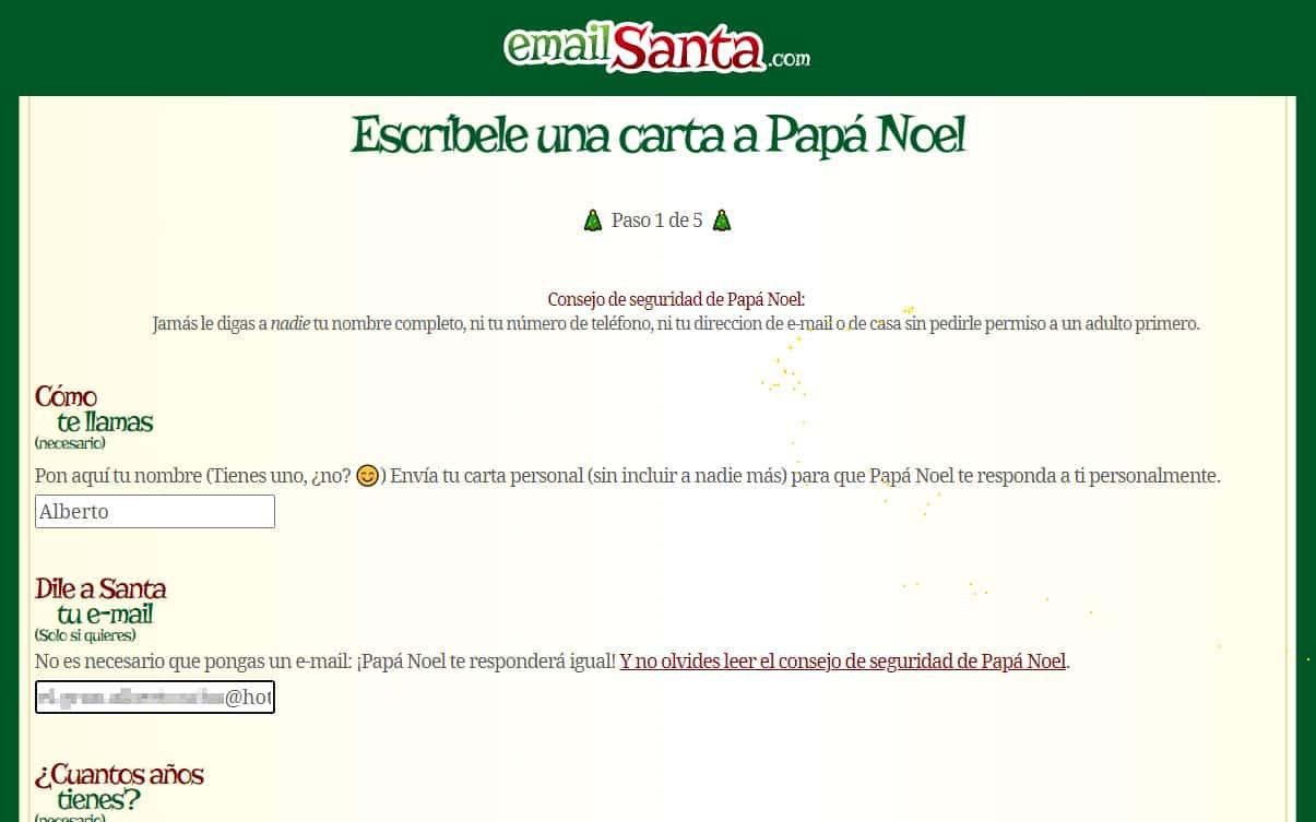 email santa web