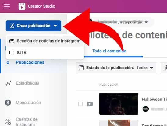 crear publicación instagram creator studio