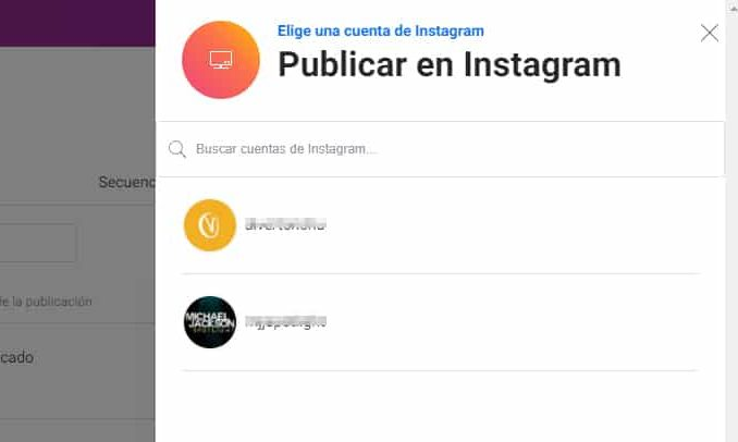 elegir cuenta instagram creator studio