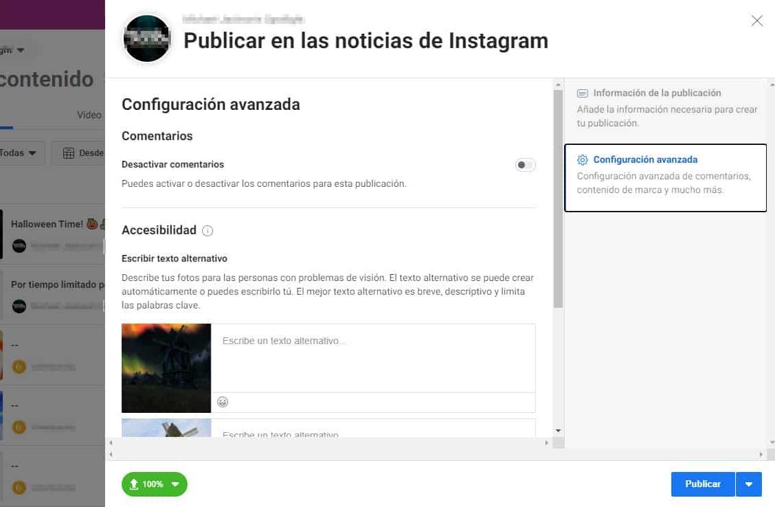 configuración avanzada creator studio publicación instagram
