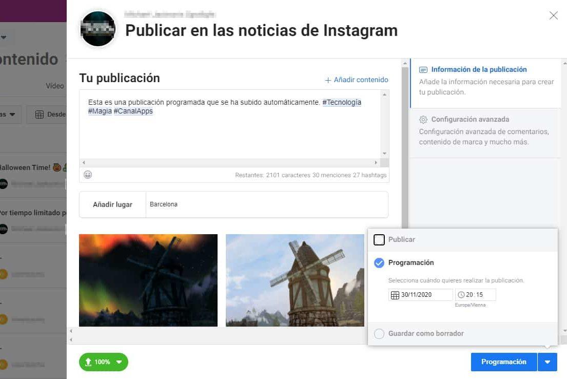 programar publicaciones instagram creator studio