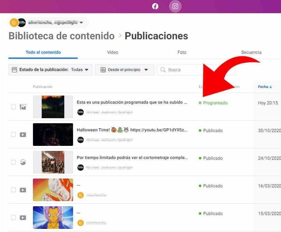 biblioteca de contenido instagram creator studio publicación programada