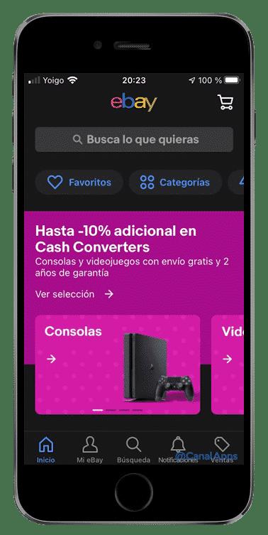 ebay app menú principal