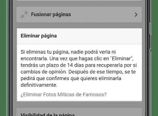 eliminar pagina general configuracion pagina facebook