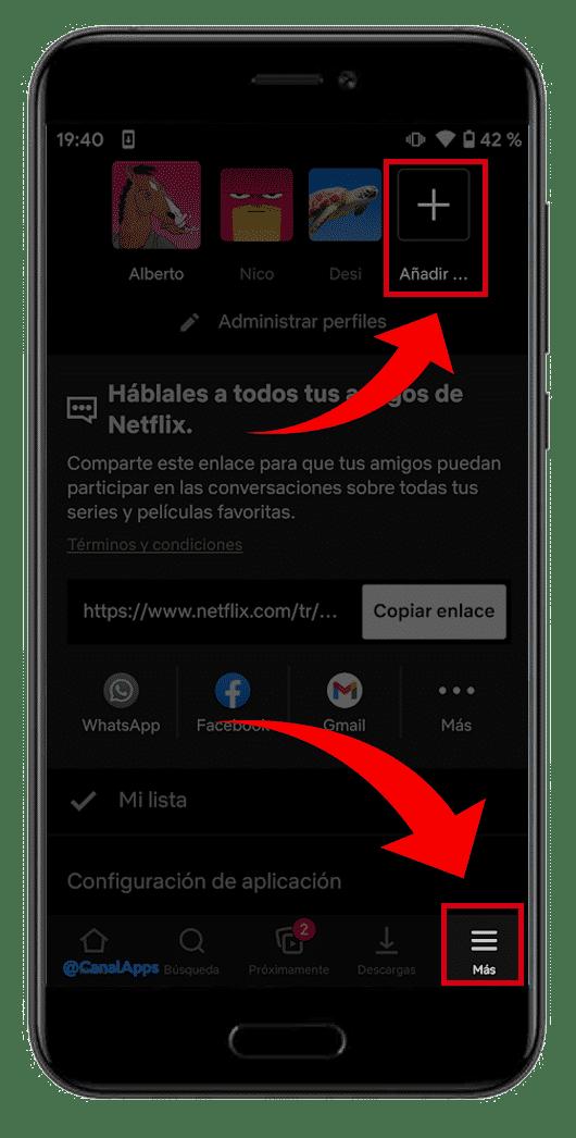 más opciones netflix app