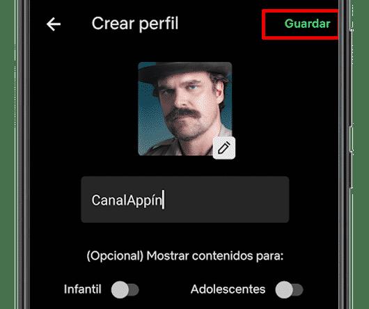 nuevo perfil creado netflix