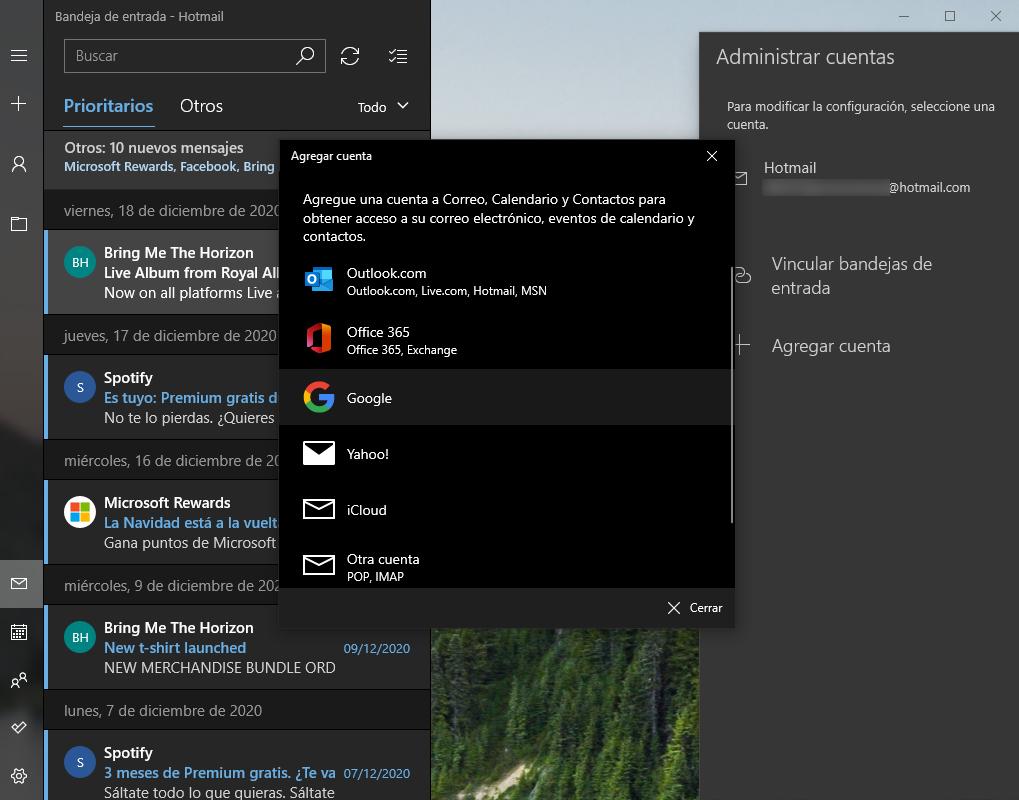 gmail en app correo de windows 10