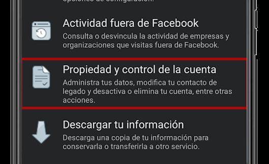 propiedad y control de la cuenta facebook app