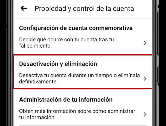 desactivación eliminación cuenta