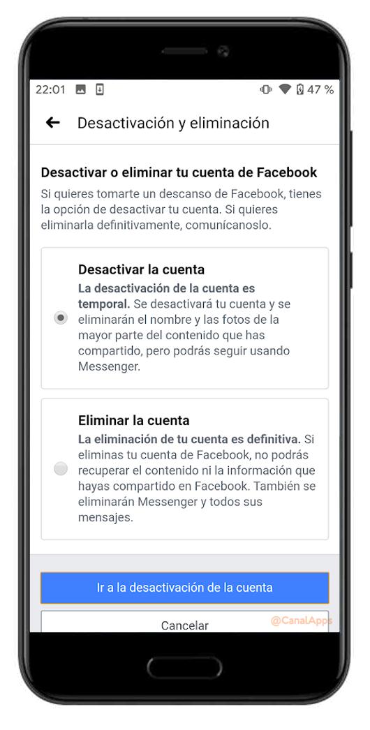desactivar o eliminar cuenta de facebook