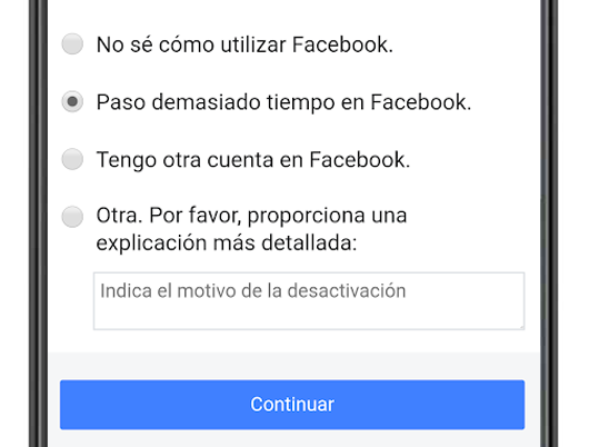 motivo desactivar cuenta facebook