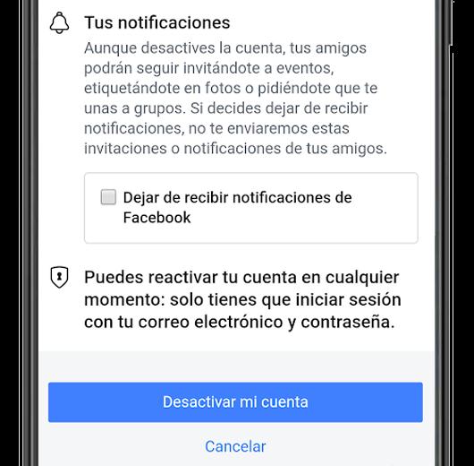 desactivar cuenta de facebook app